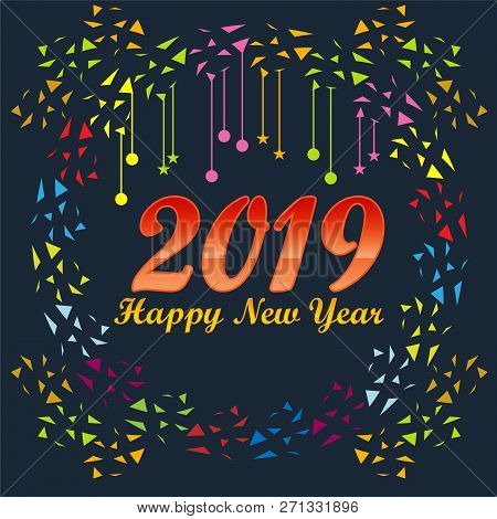 2019 On Navy Blue Background, New Year 2019,, Happy New Year 2019,, New Year 2019, Numeral 2019, New