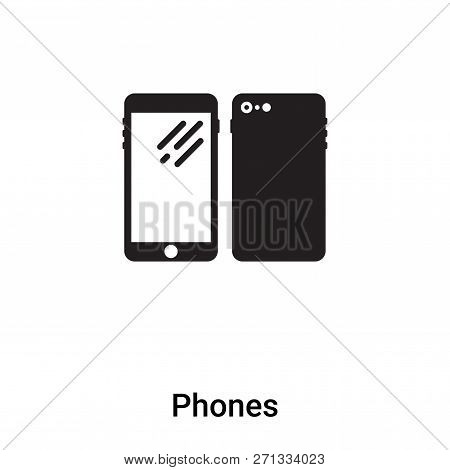 Phones Icon In Trendy Design Style. Phones Icon Isolated On White Background. Phones Vector Icon Sim