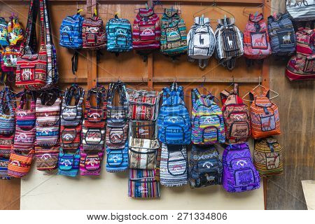 Machu Picchu, Peru - Sep 15, 2018: Bags And Handcrafts For Sale In A Market Near Machu Picchu In Per