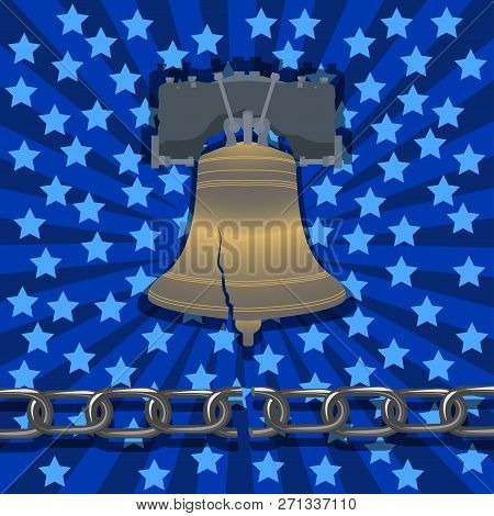 National Freedom Day. The concept of a political holiday in the United States. Abolition of slavery. Liberty Bell, broken chain, stars and rays on the background poster