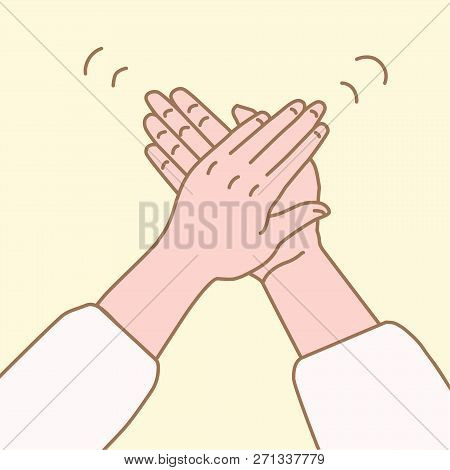 Vector Illustration Of Hand Clap In A Simple Drawn Linear Style.clap Your Hands Gesture.applause Han