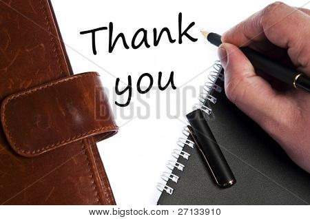Thank you write by male hand