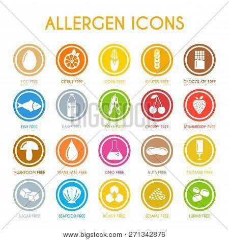 Allergen Icons Set Flat Style. Vector Illustration
