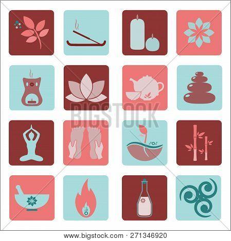 Set Ayurveda Icons. Vector Illustration. Ayurveda Logos Isolated