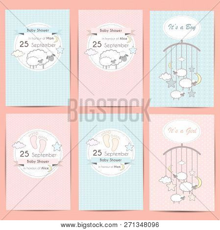 Set Of Baby Shower Boy And Girl Invitation Cards, Template For Scrapbooking With Little Lambs, Stars