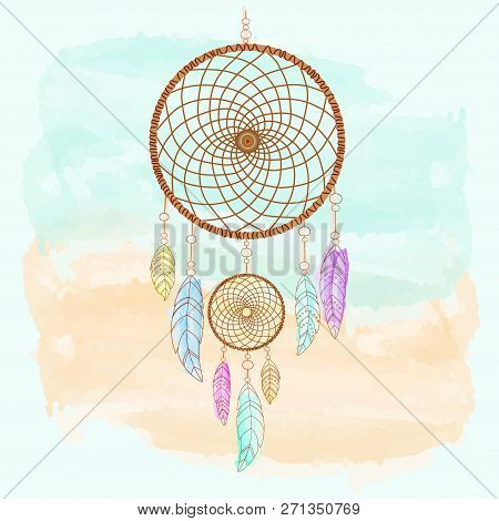 Dreamcatcher, Feathers And Beads Watercolor. Native American Indian Dream Catcher