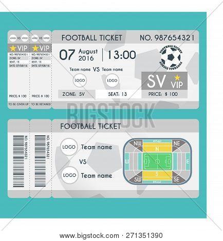 Football Ticket Modern Design. Soccer Stadium Scheme With Zone