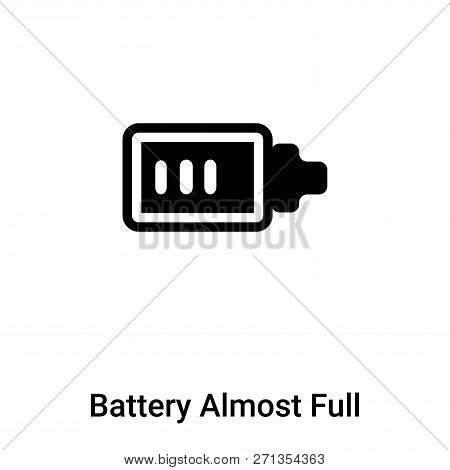 Battery Almost Full Icon In Trendy Design Style. Battery Almost Full Icon Isolated On White Backgrou