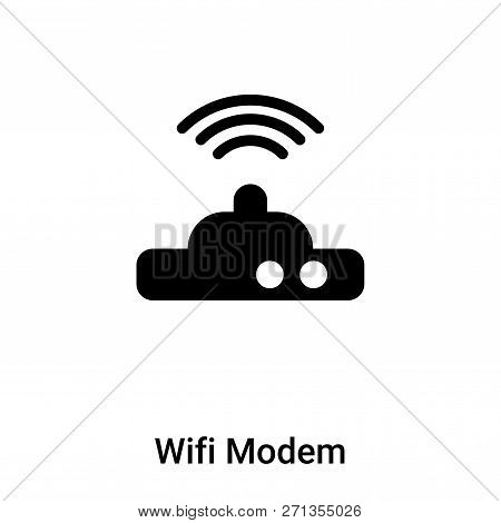 Wifi Modem Icon In Trendy Design Style. Wifi Modem Icon Isolated On White Background. Wifi Modem Vec