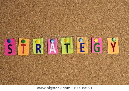 Strategy word made of post it
