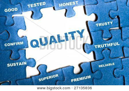 Quality blue puzzle pieces assembled