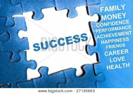 Success blue puzzle pieces assembled