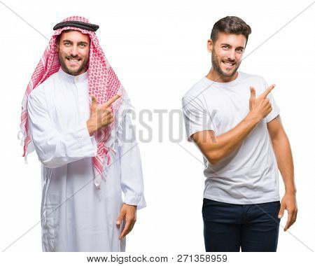 Collage of handsome young man and arab man over isolated background cheerful with a smile of face pointing with hand and finger up to the side with happy and natural expression on face