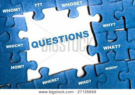Questions blue puzzle pieces assembled poster