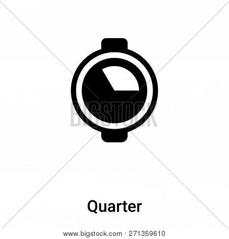 Quarter Icon In Trendy Design Style. Quarter Icon Isolated On White Background. Quarter Vector Icon