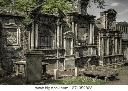 Edinburgh, Scotland - May 19: Graveyard Greyfriars Kirkyard On May 18, 2019 In Edinburgh