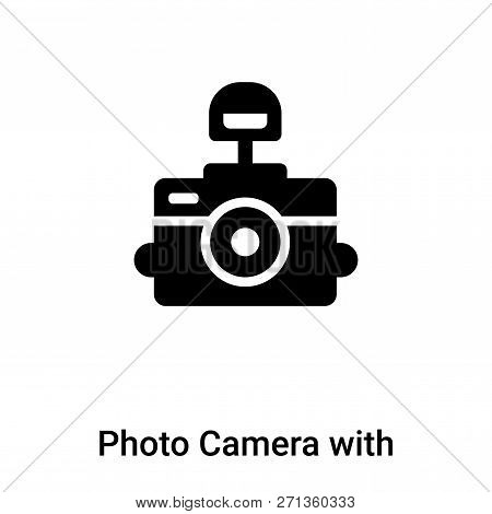 Photo Camera With Flash Icon In Trendy Design Style. Photo Camera With Flash Icon Isolated On White