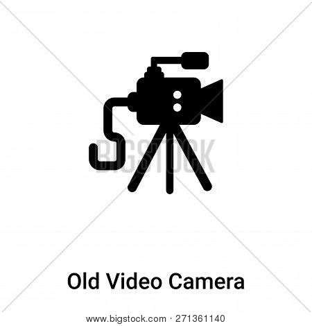 Old Video Camera Icon In Trendy Design Style. Old Video Camera Icon Isolated On White Background. Ol