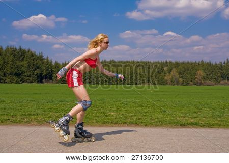 young female on roller skates