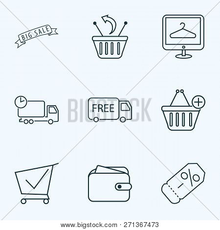 Ecommerce Icons Line Style Set With Ecommerce, Returns, Delivery And Other Purse Elements. Isolated