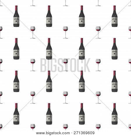 Vector Pattern Illustration In A Chaotic Manner With Wineglass With Red Wine And Dark Grey Wine Bott