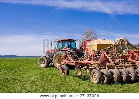 tractor on a meadow