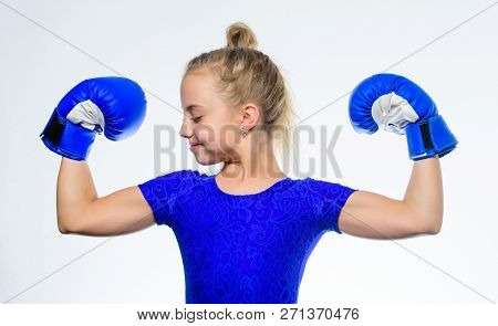 Upbringing For Leadership And Winner. Strong Child Boxing. Sport And Health Concept. Boxing Sport Fo