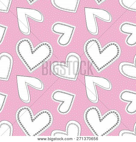 Cute White And Black Line Art Doodle Hearts As Seamless Vector Pattern On Textured Bubbly Pink Backg