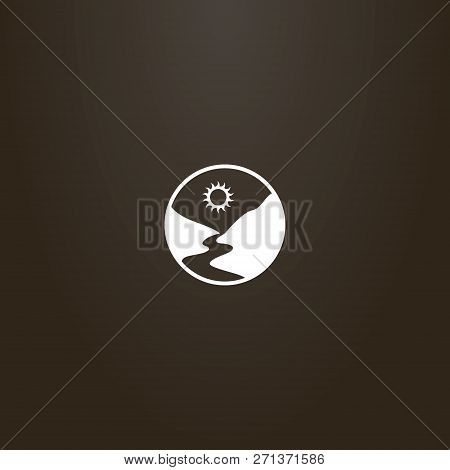 White Sign On A Black Background. Vector Round Sign Of A River Or Footpath Between Mountains