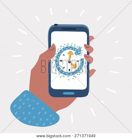 Vector Cartoon Illustration Of Time Clock On Smartphone Screen. Wake Up Or Timer App. Hand Holding S