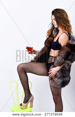 Perfect Woman Luxurious Appearance. Could Be Yours. Woman Seductive Model Enjoy Wine Wear Luxury Fur
