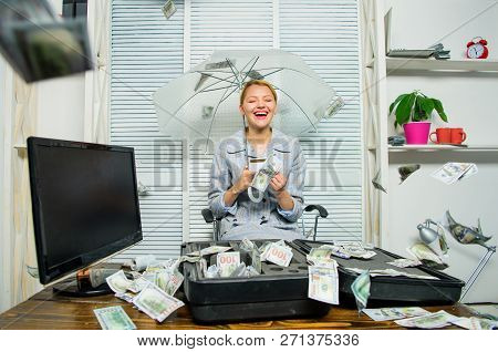 Accountant Enjoy Cash Rain In Office. Cash Rain Concept. Money Falling As Rain. Woman Business Lady