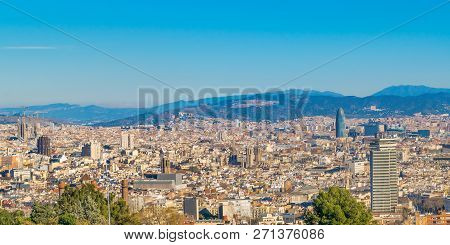 Aerial view of barcelona city harbor from montjuic garden park viewpoint poster