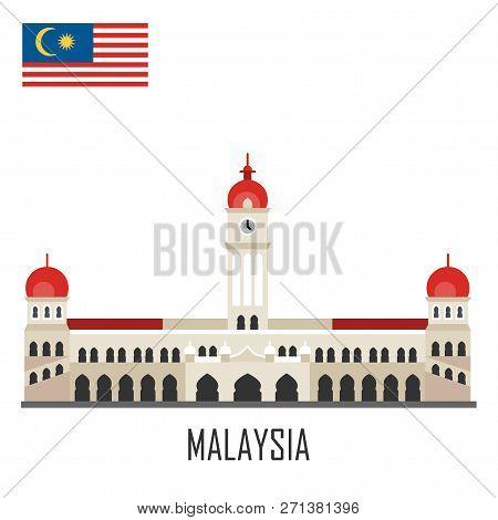 Malaysia Landmark. Sultan Abdul Samad Palace. Flat Cartoon Style Historic Sight Showplace Attraction