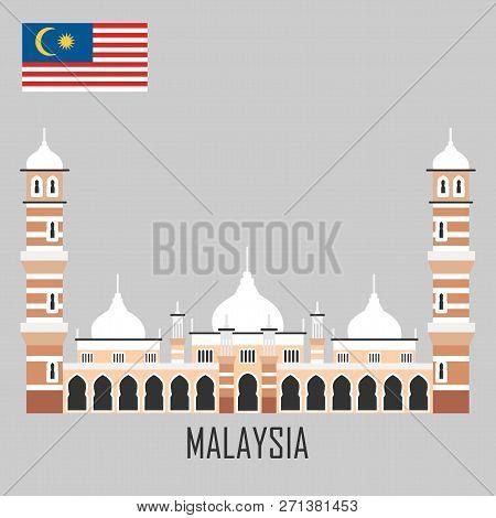 Malaysia Landmark. Masjid Jamek Mosque , Kuala Lumpur. Flat Cartoon Style Historic Sight Showplace A