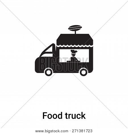 Food Truck Icon In Trendy Design Style. Food Truck Icon Isolated On White Background. Food Truck Vec