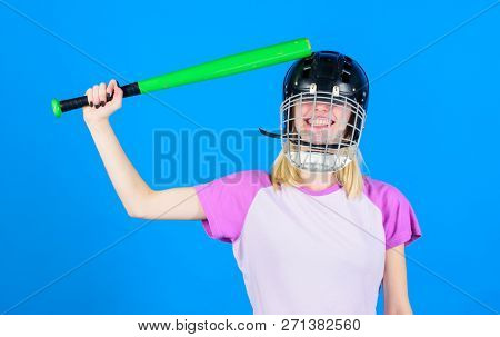 Beat Her Head With Bat. Dumb Idea Concept. Girl Just Want Have Fun. Play Game For Fun. Woman Having