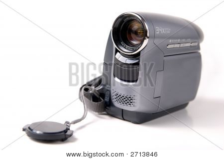 hand held mini DV video camera on white background poster