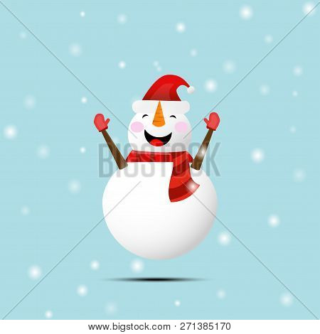 Cartoon Snowman On Sky Background Under The Snow.  Smiling Snowman With Open Arms. Vector Illustrati