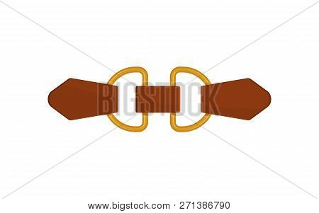 Flat Vector Icon Of Small Brown Leather Belt With Gold-plated Metal Accessories. Trendy Women Waistb