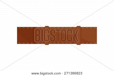 Classic Men Brown Belt. Stylish Waistband. Leather Accessory. Element Of Clothing. Flat Vector Icon