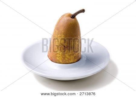 Half Pear In Small Plate