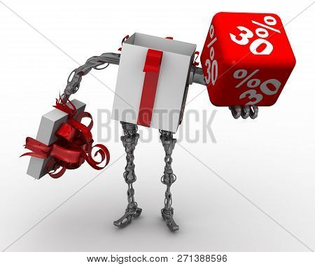 Discount Is The Best Gift. 30 Percentages. Open Gift Box In The Form Of Cyborg (with Legs And Arms)