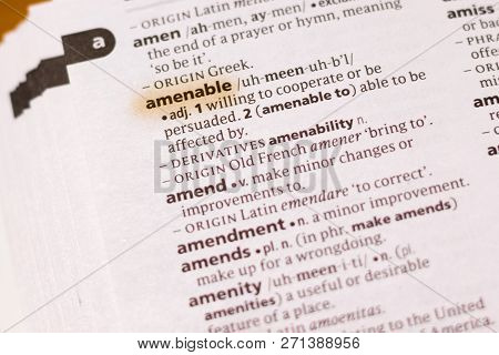 The Word Or Phrase Amenable In A Dictionary Highlighted With Marker.