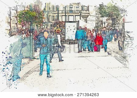 A Watercolor Sketch Or An Illustration. There Are A Lot Of People In The City Street. Ordinary City