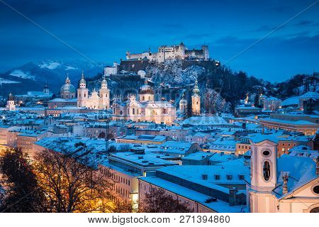 Classic View Of The Historic City Of Salzburg With Famous Festung Hohensalzburg And Salzach River Il