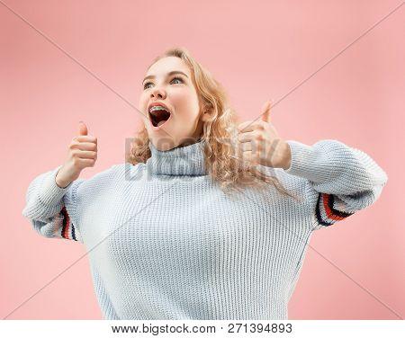I Am Ok. Happy Woman, Sign Ok, Smiling, Isolated On Trendy Pink Studio Background. Beautiful Female