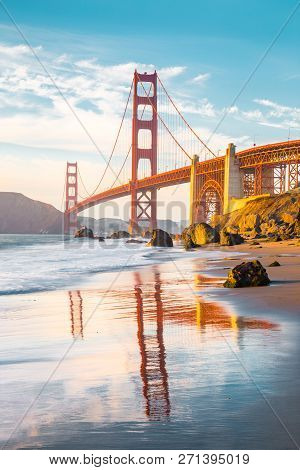 Classic Panoramic View Of Famous Golden Gate Bridge Seen From Scenic Baker Beach In Beautiful Golden
