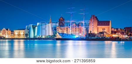 Classic Panoramic View Of The Hanseatic City Of Stralsund During Blue Hour At Dusk, Mecklenburg-vorp