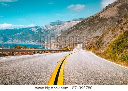 Scenic View Of World Famous Highway 1 With The Rugged Coastline Of Big Sur In Beautiful Golden Eveni